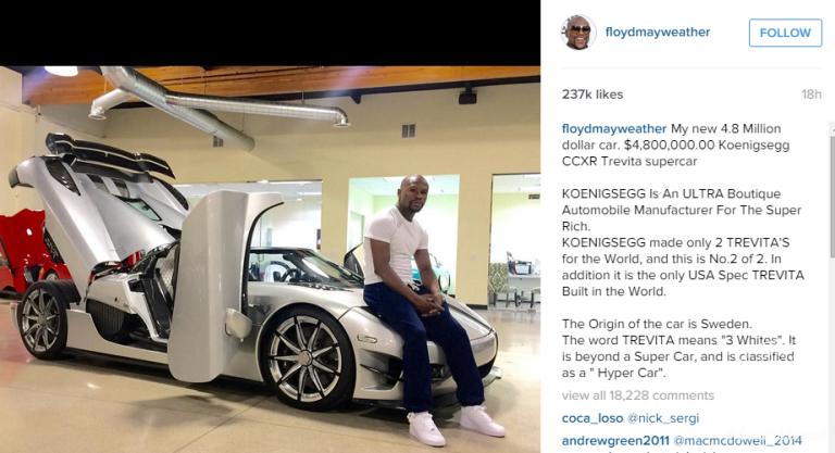 Floyd Mayweather Purchases 48 Million Koenigsegg Ccxr Trevita