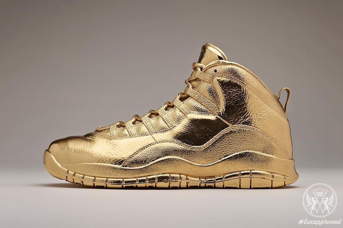 Solid Gold Jordan Shoes Drake