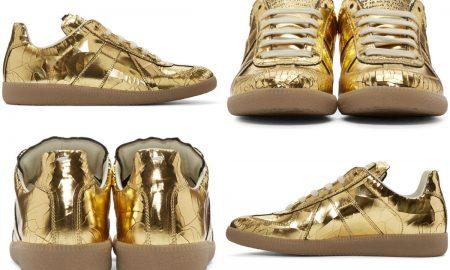 Maison Margiela Replica Sneakers In Gold-Tone