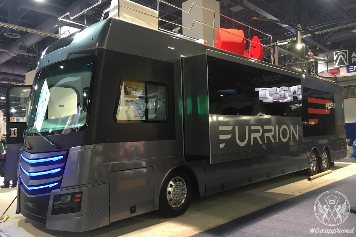 The Furrion Elysium RV Is Fitted with Hot Tub, Helipad & the Robinson R22 Helicopter