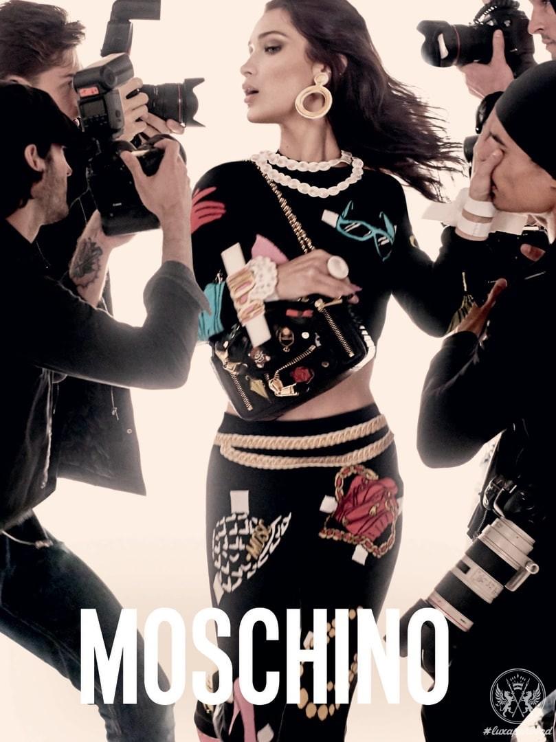 Gigi & Bella Hadid Front Moschino Spring-Summer 2017 Campaign