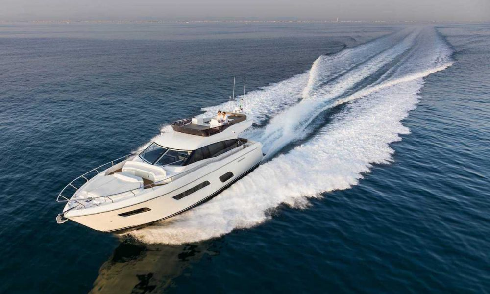 """Gulf Première"" Ferretti Yachts 550 at the Dubai International Boat Show"