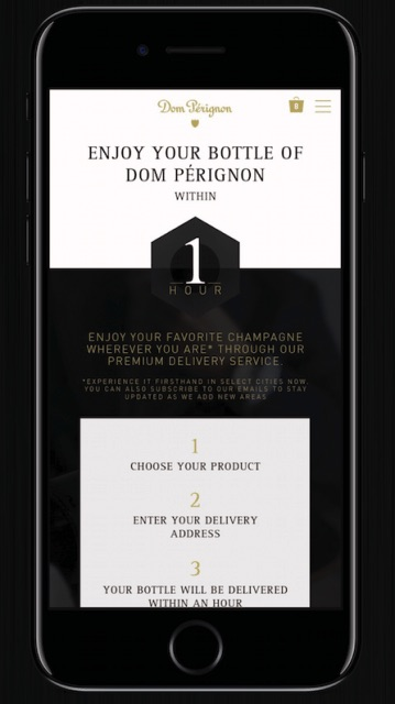Dom Pérignon Partners with Thirsty to Offer a 1-hour Luxury Delivery Service