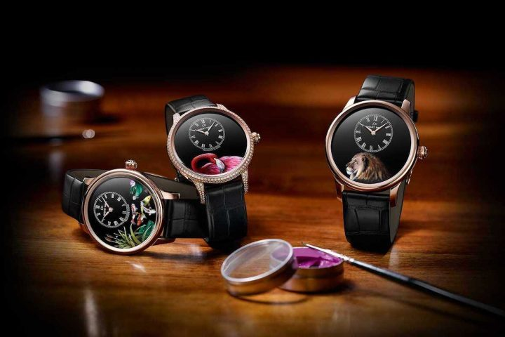 Lion, Flamingo, and Koi Carp Come Alive on Jaquet Droz Petite Heure Minute Watches