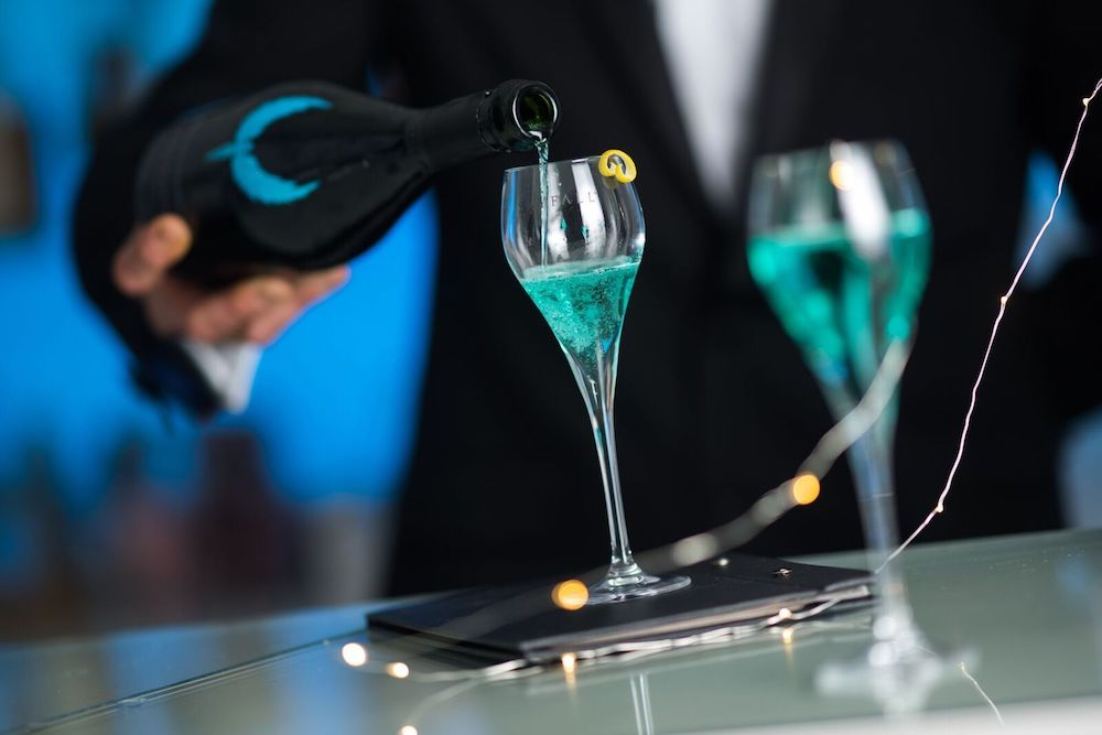 Skyfall Gran Reserva Turquoise Blue Sparkling Wine Is in the Class of Its Own