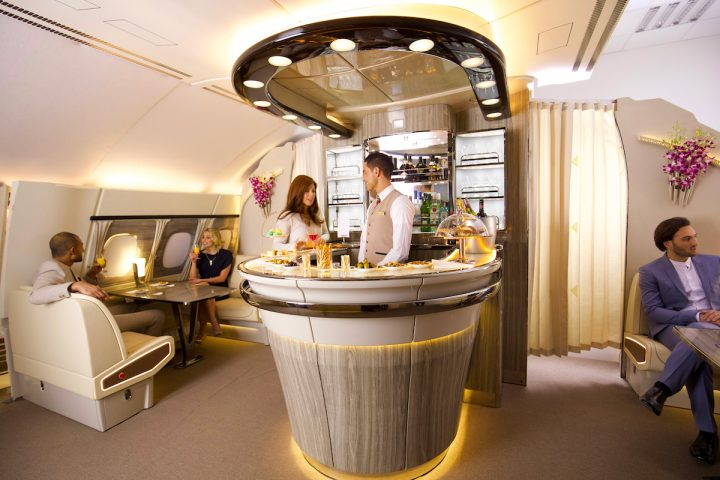 Emirates Debuts Newly Revamped A380 Onboard Lounge