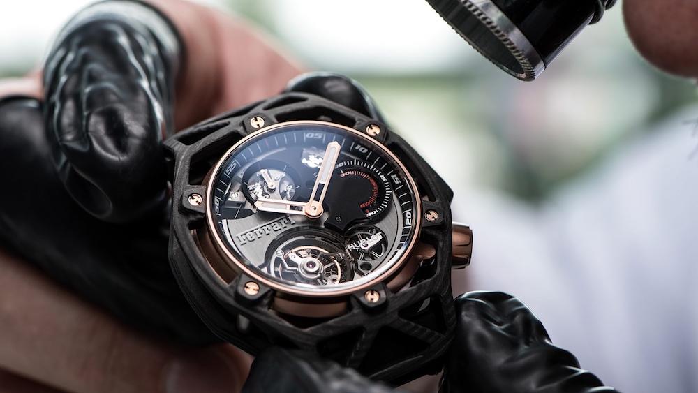 The Hublot Techframe Ferrari 70 Years Tourbillon Chronograph in Peek Carbon & King Gold
