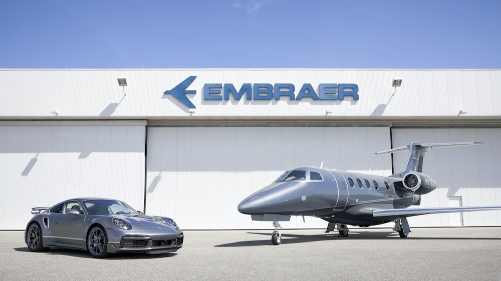 A Special Edition Embraer Phenom 300E Jet Comes with a Matching Porsche 911 Turbo S